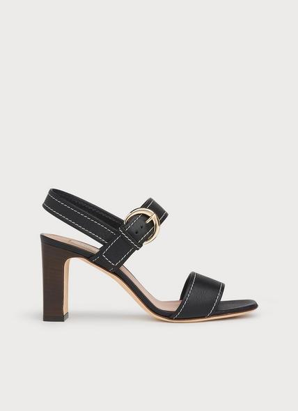 Natalie Black Leather Buckle Sandals