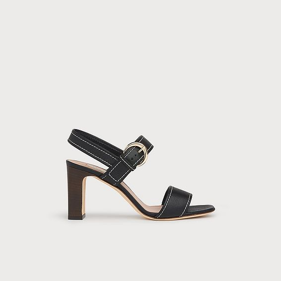 Natalie Black Leather Buckle Sandals