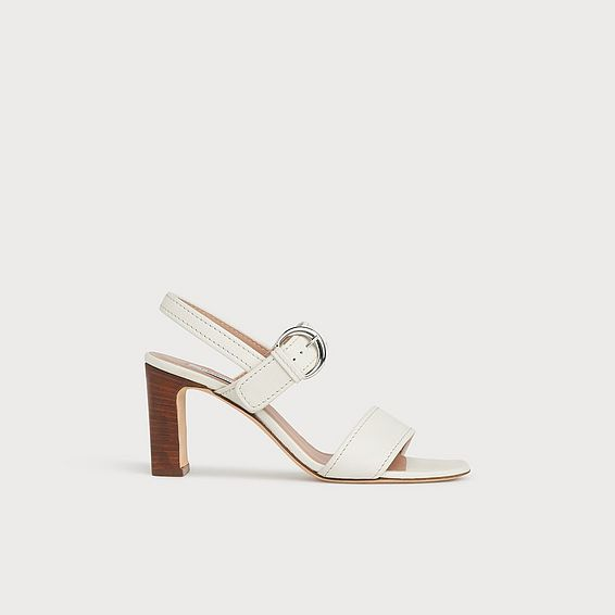 Natalie Off-White Leather Buckle Sandals