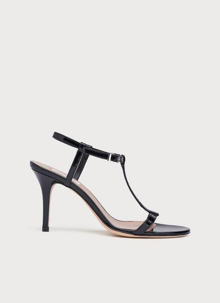 North Black Patent T-Bar Sandals