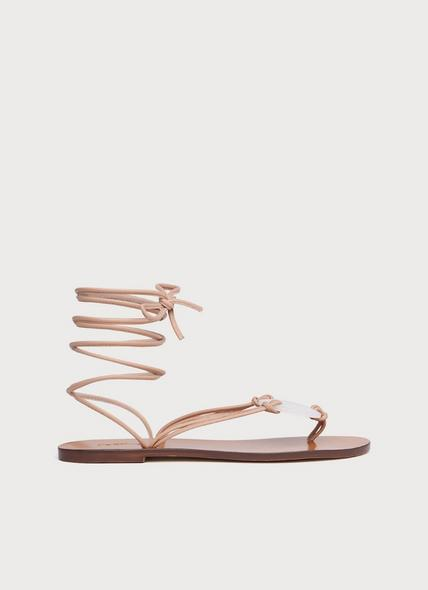 Reese Beige Leather Strappy Flat Sandals