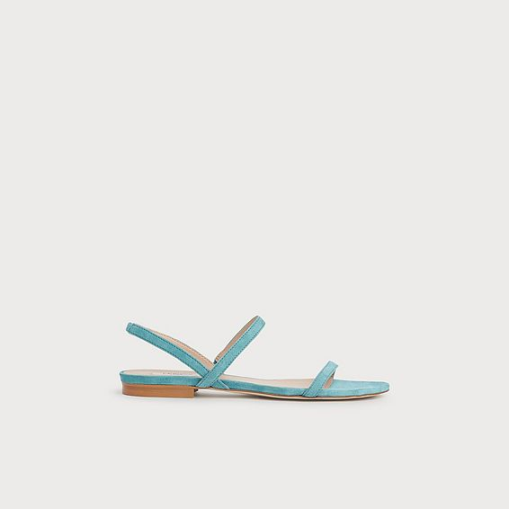 River Blue Suede Two-Strap Flat Sandals