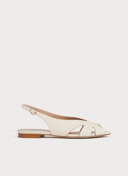 Rome Off-White Leather Cut-Out Sandals