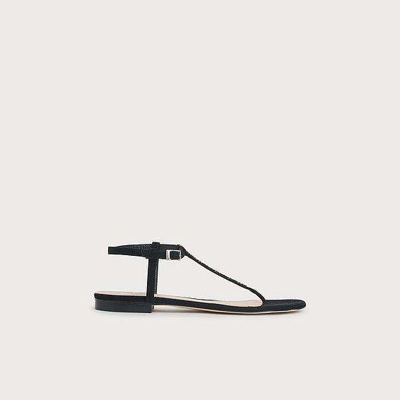 Roxy Black Suede Swarovski Crystal Flat Sandals