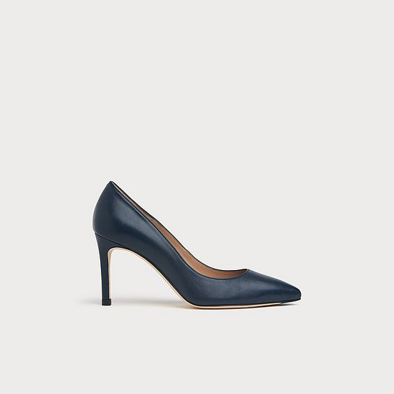 Floret Navy Leather Pointed Toe Courts