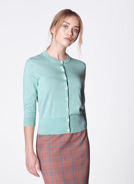 Aila Aqua Silk-Cotton Cardigan