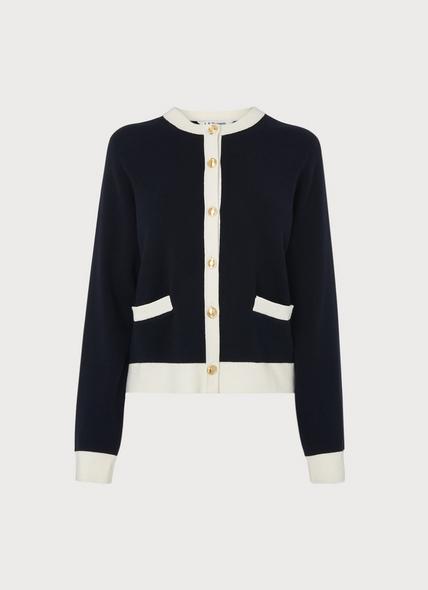 Charles Navy White Wool Blend Cardigan