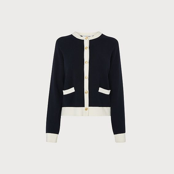 Charles Navy White Wool Blend Cardigan