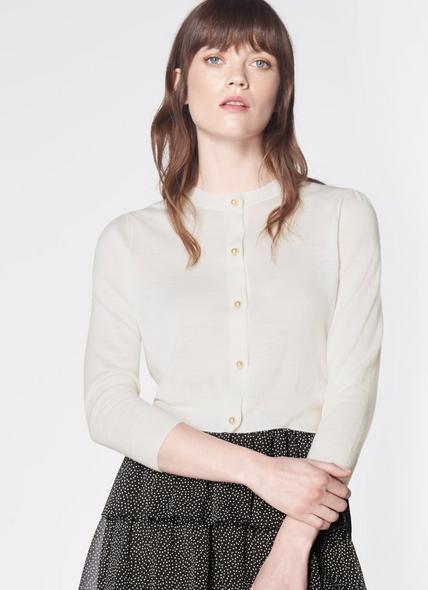Ella Cream Merino Wool Cropped Cardigan