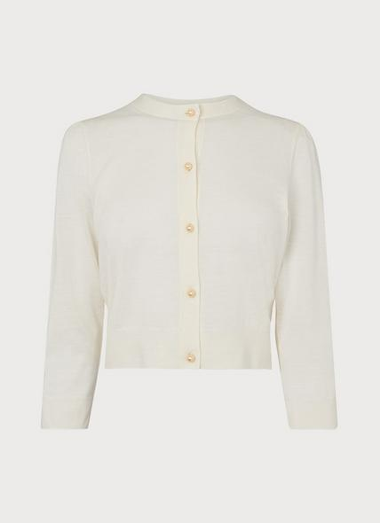 Ella Cream Merino Wool Cropped Cardigan