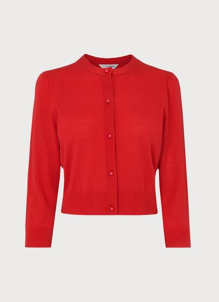 Ella Red Merino Wool Cropped Cardigan