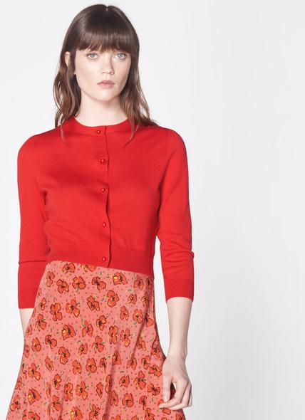 Ella Red Merino Wool Cropped Cardigan
