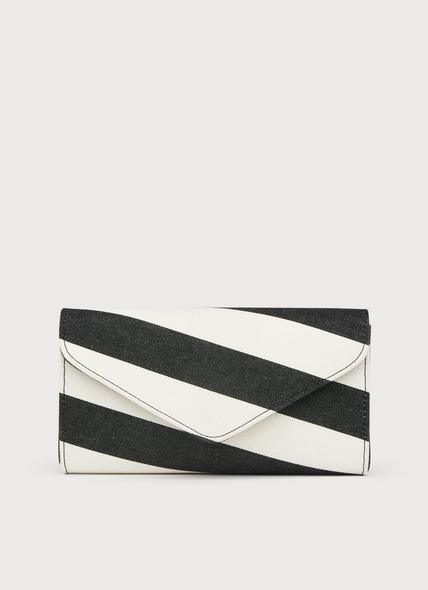 Lucia Black White Fabric Clutch