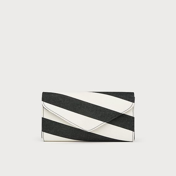Lucia Black White Fabric Clutch