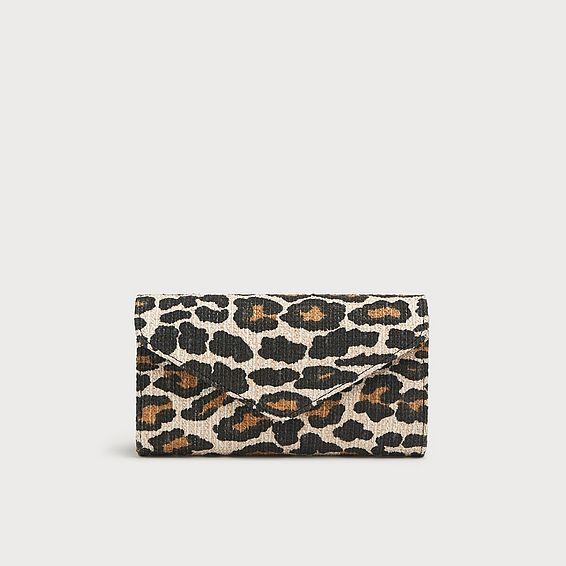 Lucia Leopard Print Canvas Clutch
