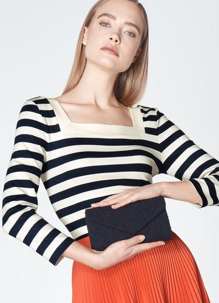 Lucia Navy Tweed Clutch