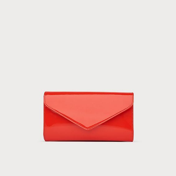 Lucia Orange Patent Clutch
