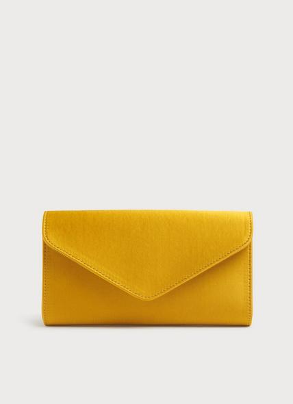 Lucia Yellow Satin Clutch