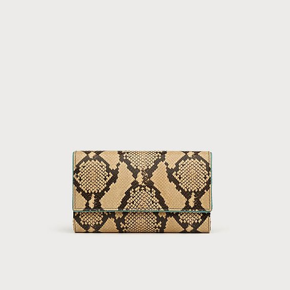 Dayana Yellow Snake Print Clutch