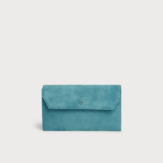 Dora Light Blue Suede Clutch