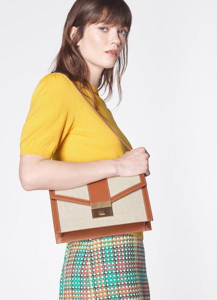 Myra Cream Canvas & Tan Leather Crossbody Bag