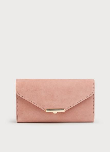 Lucy Pink Suede Clutch