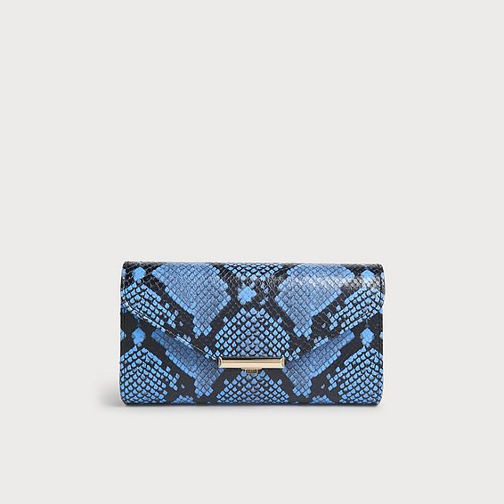 Lucy Blue Snake Print Clutch
