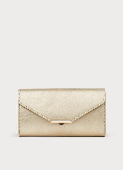 Lucy Soft Gold Suede Clutch