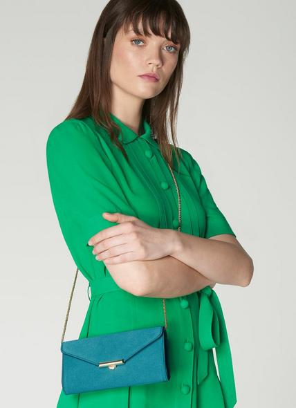 Lucy Turquoise Satin Clutch