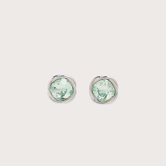 Sydney Green Swarovski Crystal & Rhodium-Plated Twist Stud Earrings