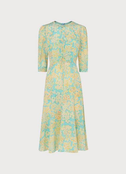 Alicia Impressionist Floral Print Silk Tea Dress