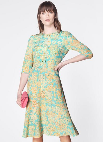Alicia Impressionist Floral Print Silk Tea Dress