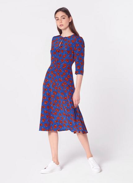 Alicia Poppy Print Silk Tea Dress