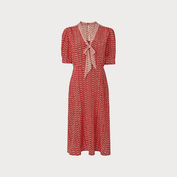 Asa Red Multi Silk Dress