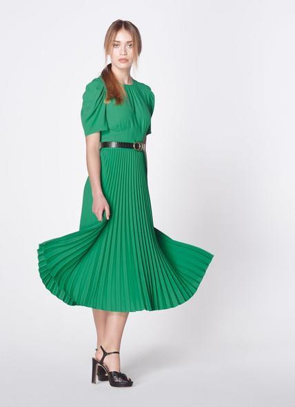 Avalon Green Crepe Pleated Dress