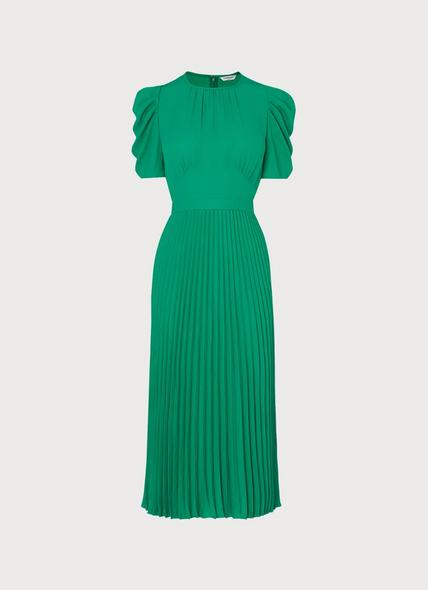 Avalon Green Crepe Pleated Dress
