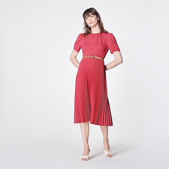 Avalon Pink Crepe Pleated Dress