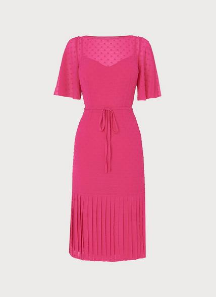Boe Pink Self-Spot Midi Dress