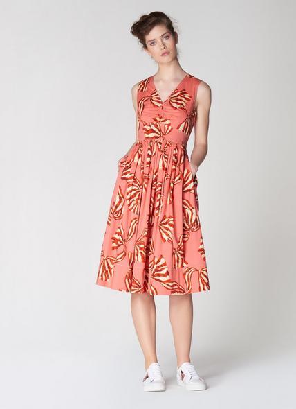 Candice Pink Bow Print Cotton Sun Dress