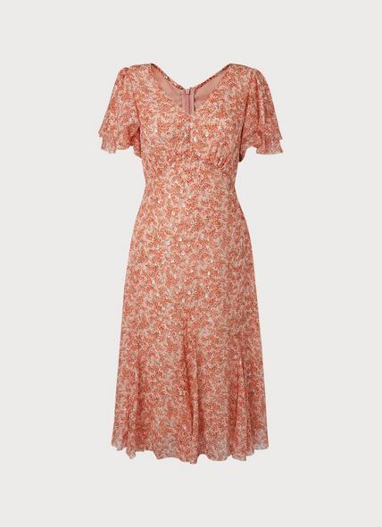Cecilia Cream Silk Mix Dress