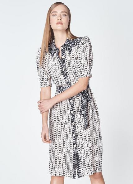 Celeste Navy White Silk Dress