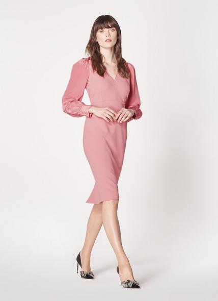 Charlotte Pink Sheer Sleeve Occasion Dress