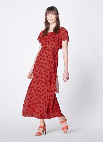 Clara Poppy Print Beaded Maxi Silk Dress