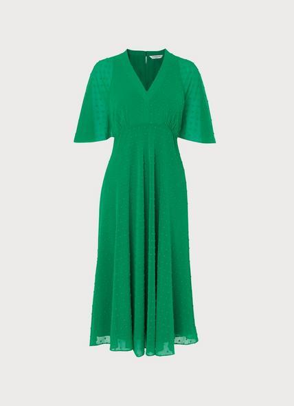 Claud Green Self-Spot Midi Dress