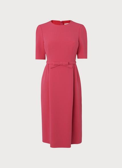 Elina Pink Bow Belt Shift Dress