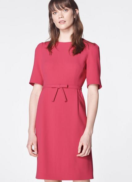 Elina Pink Bow Belt Shift Dress