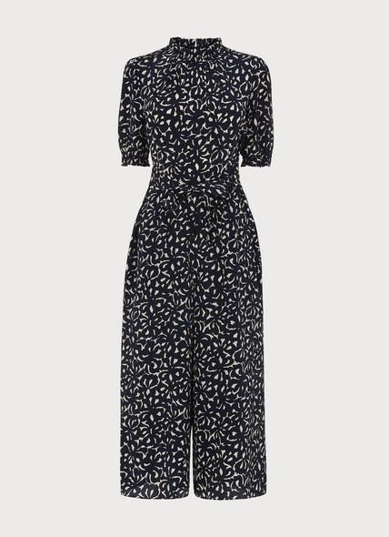 Emi Abstract Bow Print Silk Jumpsuit