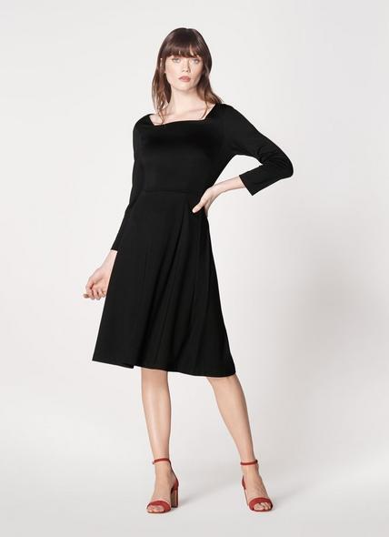 Erin Black Jersey Fit & Flare Dress