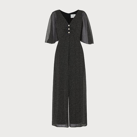Harlow Black Crinkle Spot Jumpsuit