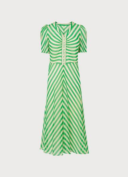 Holzer Green Candy Stripe Silk Midi Dress